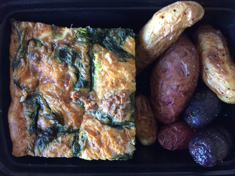 Green Sausage and Spinach Frittata with Roasted Fingerling Potatoes and RJ Salsa