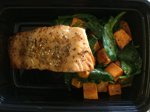 Mustard Glazed Salmon with Spinach and Sweet Potato Salad