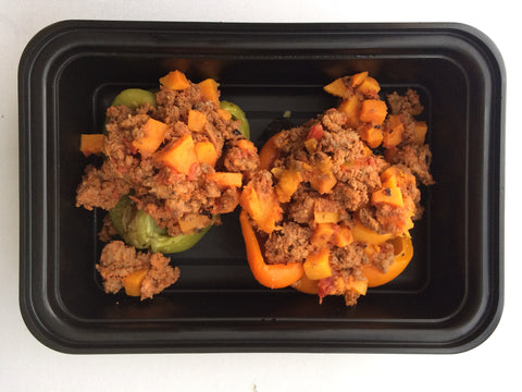Grass-fed Beef and Vegetable Stuffed Peppers with a Side of Rice