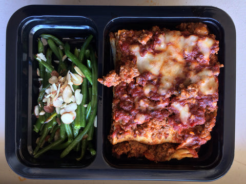 Gluten Free Grass Fed Beef Lasagna with Green Beans Almandine