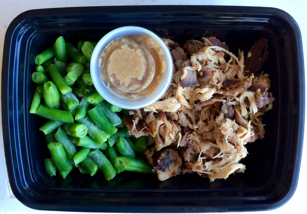 Pulled Pork with RJ Apple Sauce and Green Beans