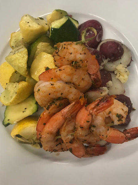 BBQ Shrimp Skewers over Boiled New Potatoes with Roasted Squash