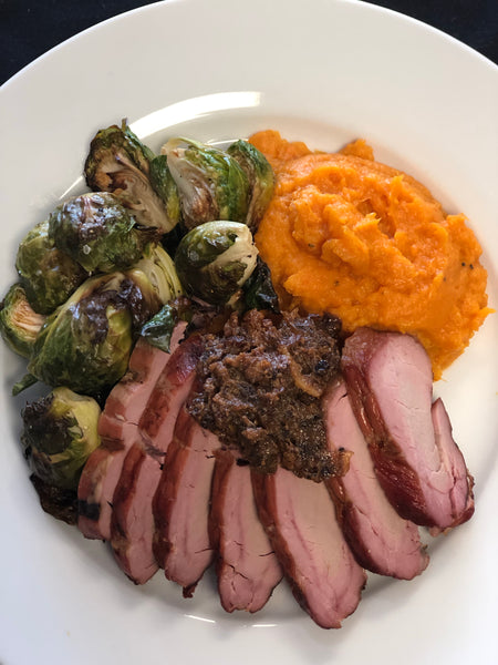 Smoked Pork Tenderloin with Bacon Marmalade, Mashed Sweet Potatoes and Roasted Brussels Sprouts