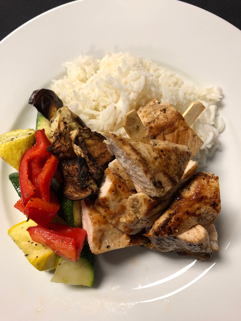 Marinated Chicken Skewers with Seasonal Roasted Vegetables and Texmati Rice