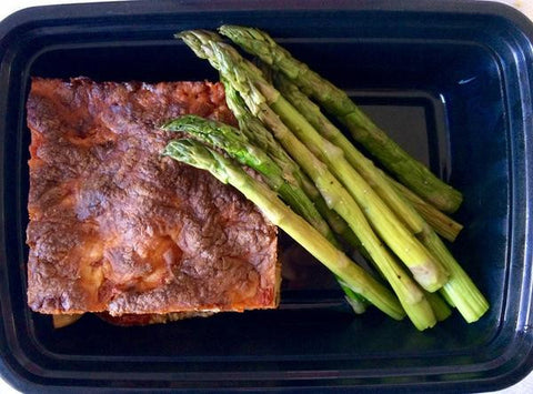 Gluten Free Grass Fed Beef Lasagna with Asparagus