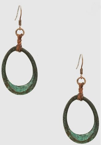 Carly Patina Wire Trimmed Metal Oval Drop Earrings
