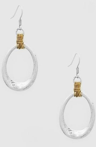Carly Silver Wire Trimmed Metal Oval Drop Earrings