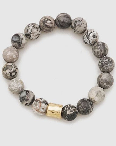 Loraine Marbled Stretch Bracelet in Grey