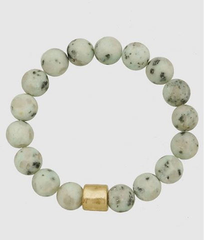 Loraine Marbled Stretch Bracelet in White