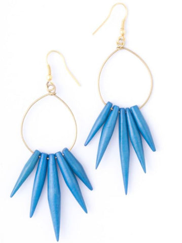 Blue Quill Earrings - Mata Traders