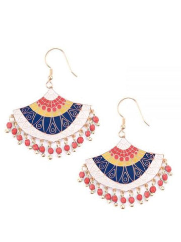 Embellished Fan Earrings Red - Mata Traders