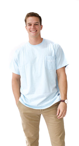 Southern Gentleman Short Sleeve T-Shirt in Sky Blue - Properly Tied