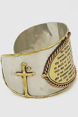 The Lord's Prayer Wide Cuff Bracelet