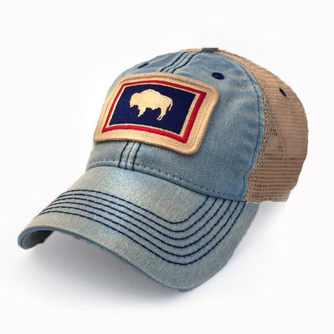 Buffalo Patch Trucker Hat in Americana Blue - State Legacy Revival