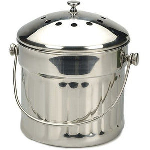 RSVP Stainless Compost Pail, Stainless Steel, Jumbo 1.5 Gallon