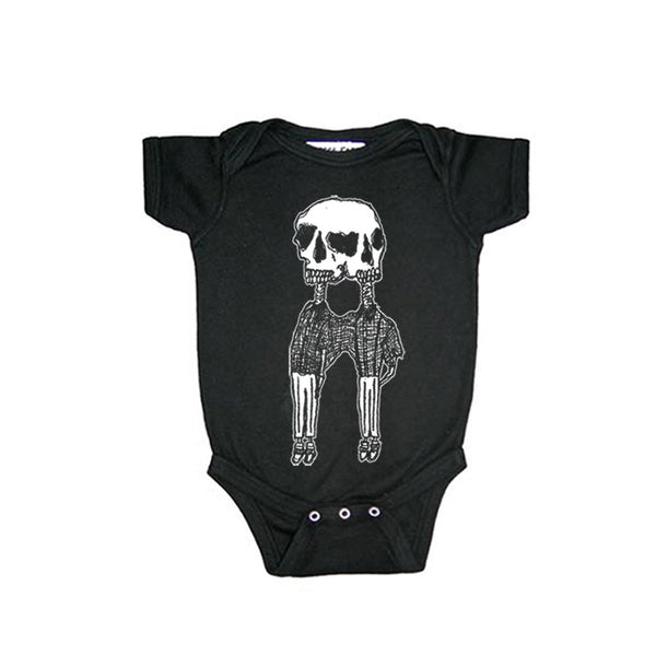 CONJOINED SKELETONS BLACK ONESIES