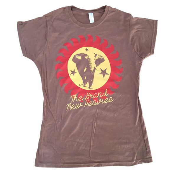 Brand New Heavies brown logo tee - Ladies size. The logo is in Yellow with a Red sunburst outline.
