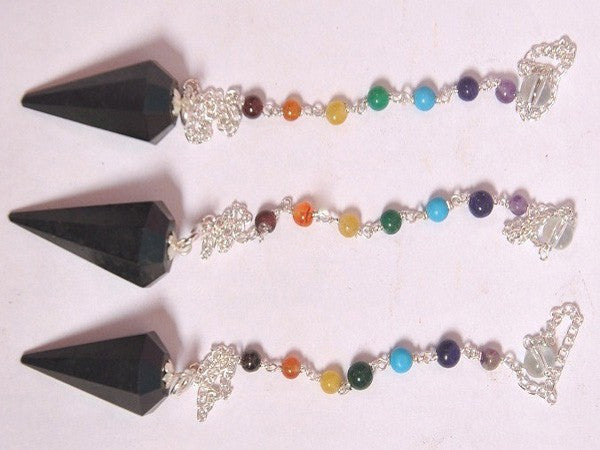 Black Tourmaline Pendulums with Chakra Chain