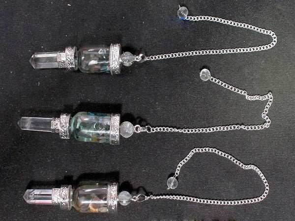 Bottle Pendulum with floating chakra stones crystal quartz