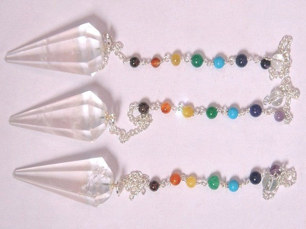 Facetted Crystal Quartz Pendulum With Chakra Chain