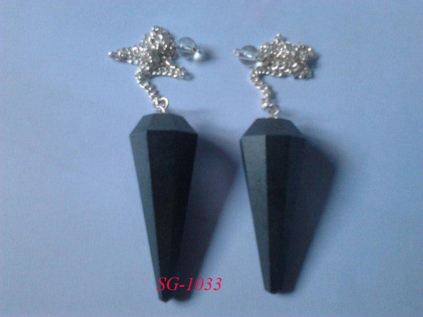 Black Jasper Facetted Pendulum