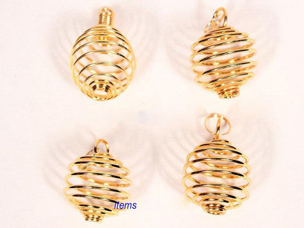 Gold Round Cage Pendulum with chain