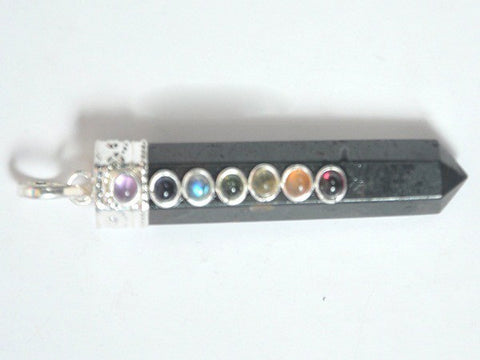 7-Chakra Black Tourmaline Point Pendant