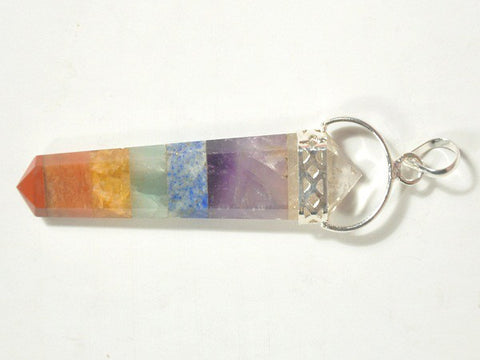 7-Chakra Flat Double Point Pendant