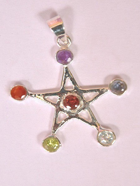 Chakra Pentacle Star Pendant With Cut Stone