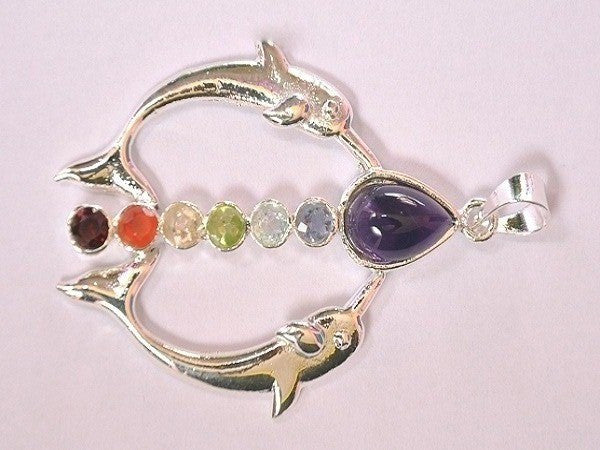 Chakra Dolphin Pendant With Cut Stone