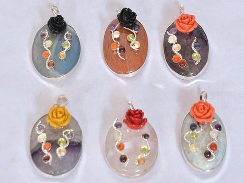 Agate Oval Pendants with Chakra Cab