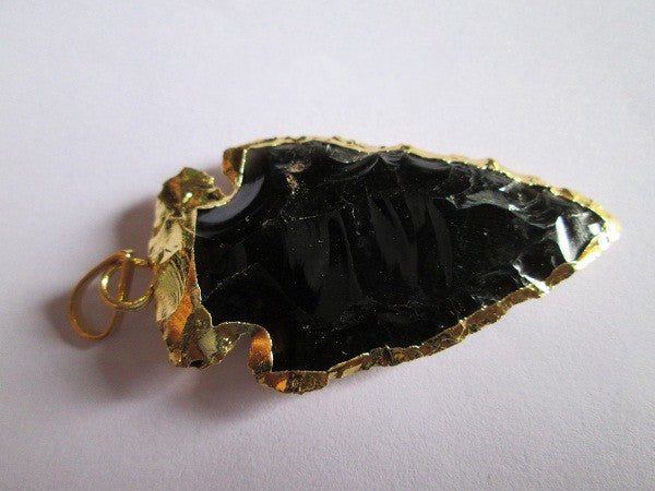 Black Obsidian Electro Plated Arrowhead Pendant 2inch
