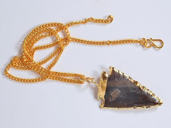 Agate Electro Plated Arrowhead Pendant With Chain 2inch