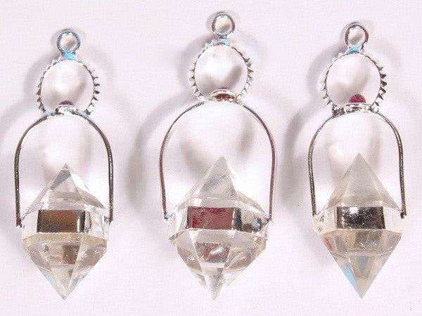 Crystal Quartz Herkimer Pendants with 6 facet