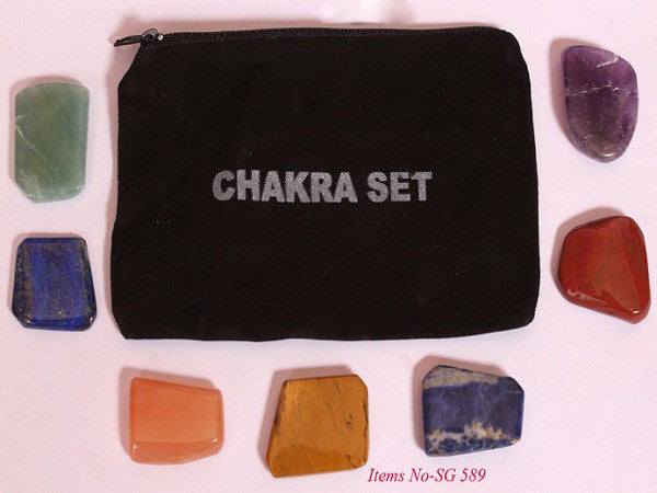 Flat Chakra Tumbled Stones Set with pouch