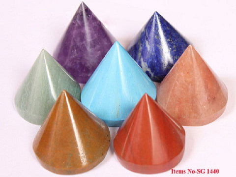 Chakra Conical Pyramid Set