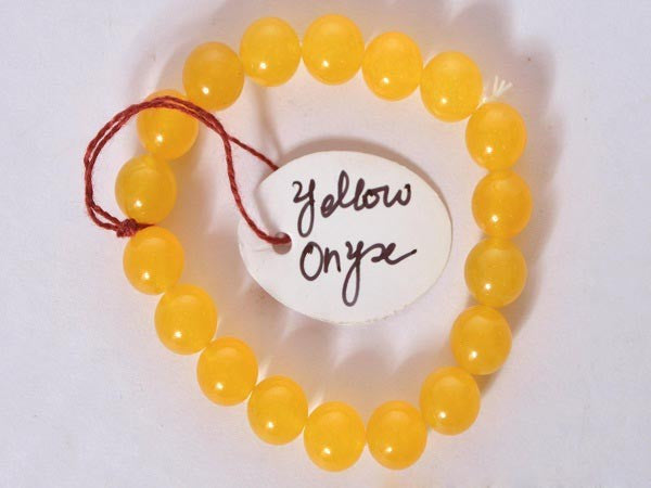 Yellow Onyx-10 mm Bead Bracelet