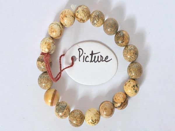 Picture Jasper-10 mm Bead Bracelet