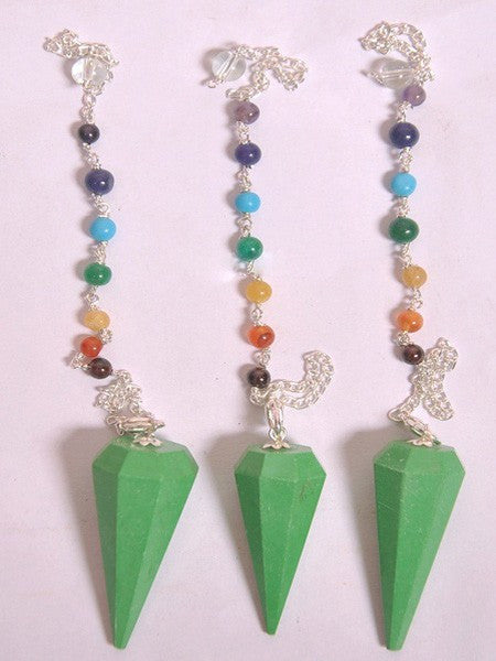 Green Turquoise Pendulums with Chakra Chain