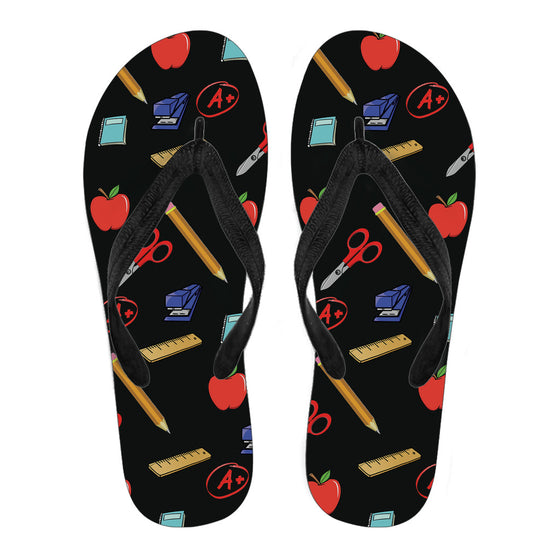 Teacher Appreciation Women's Flip Flops (Black)