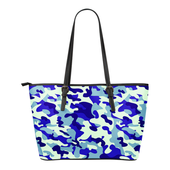 Blue Camouflage Small Leather Tote Bag
