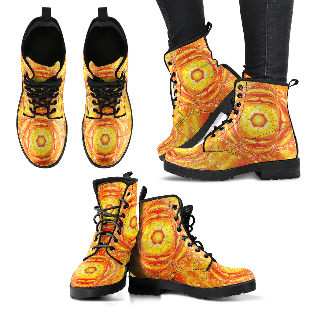 Orange Mandala Women's Leather Boots