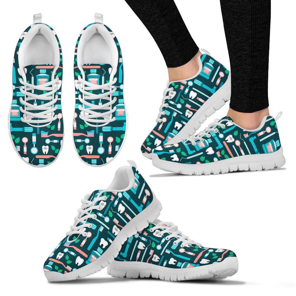 Dental Instrument Pattern Sneakers - Women's Sneakers