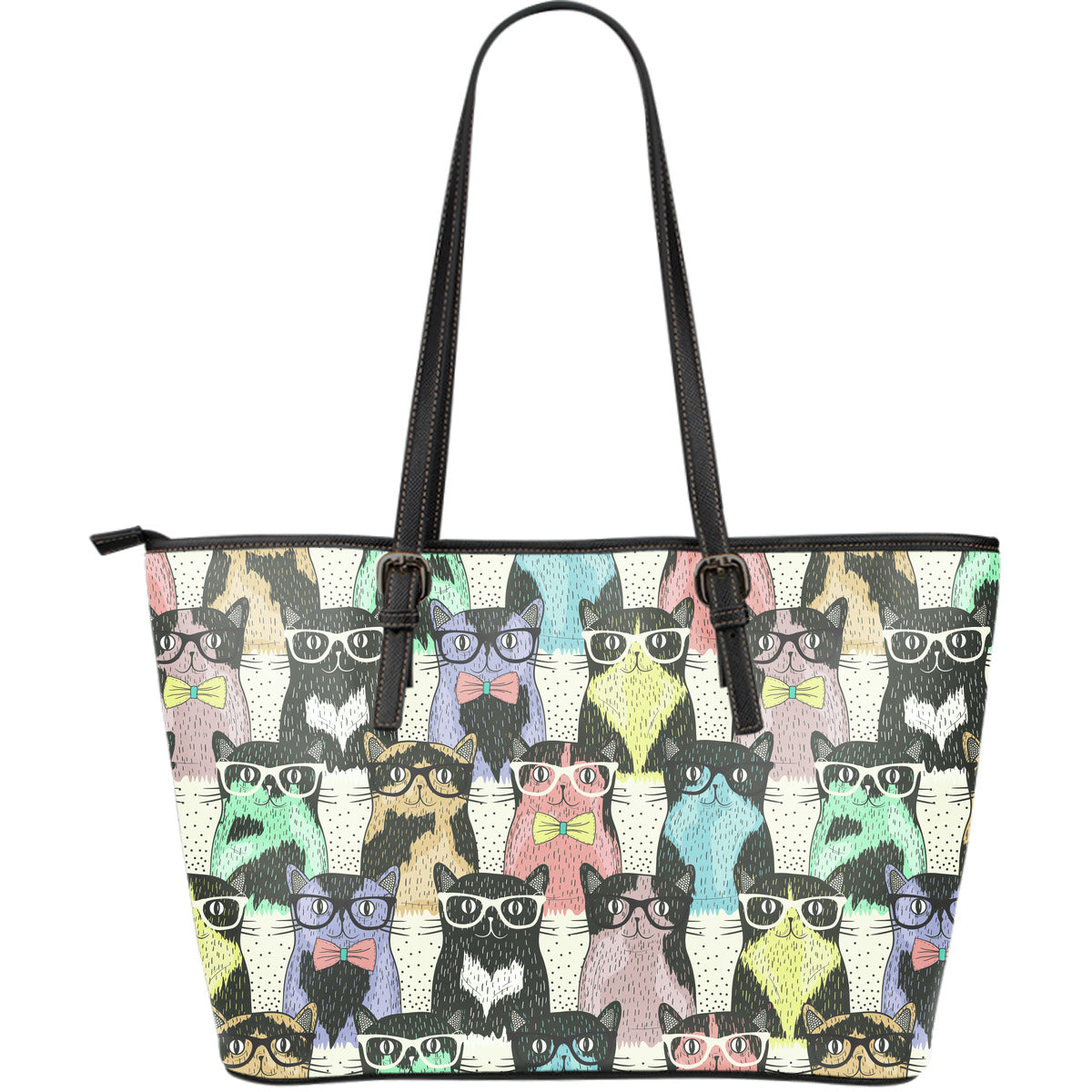 Cat Glasses Large Leather Tote Bag