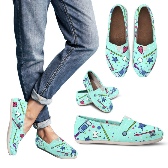 Mint Stars Hearts Dental Women's Casual Shoes