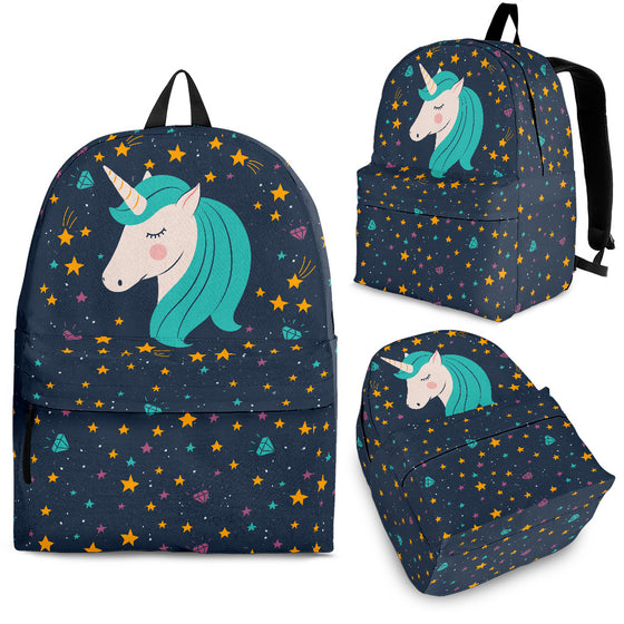 Midnight Blue Starry Night Unicorn Backpack