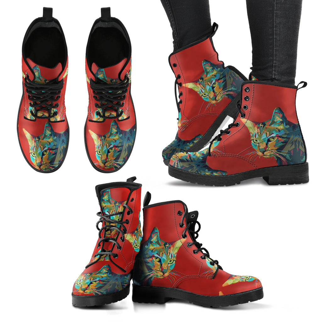 Cat Red Women's Leather Boots