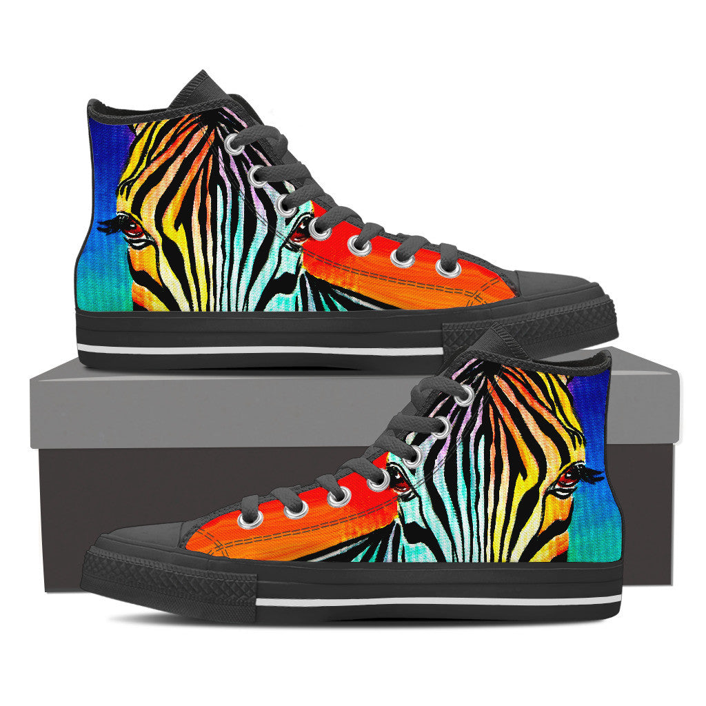 Zebra by Alicia VanNoy Call Women's High Top Canvas Shoes