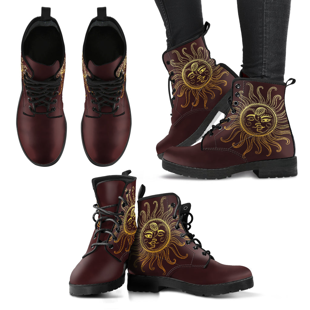 Decorative Sun Moon Women's Leather Boots