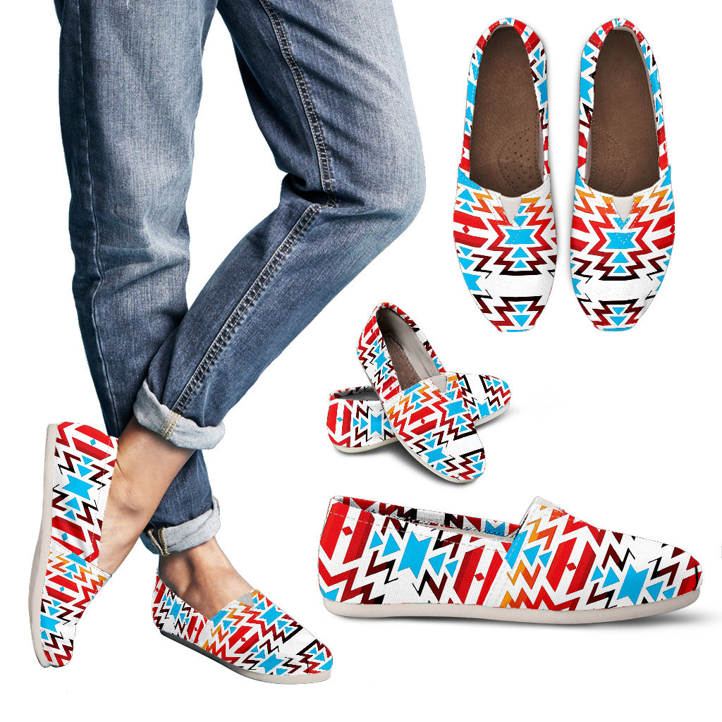 White Fire and Turquoise Women's Casual Shoes
